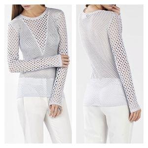 BCBGMaxAzria   Elaine Long Sleeve Lace Top  LG